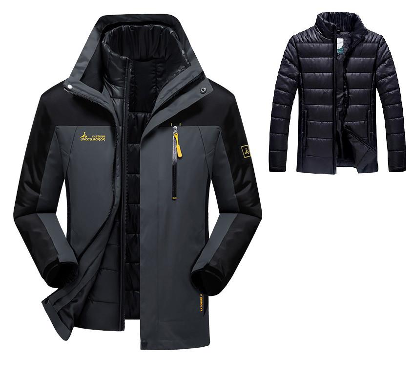 3 в 1 Ветро-Влагозащитная тёплая зимняя куртка+пуховик=парка большие размеры
