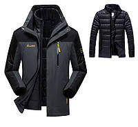 3 в 1 Ветро-Влагозащитная тёплая зимняя куртка+пуховик=парка большие размеры, фото 1