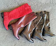 Женские кожаные сапоги низкий ход