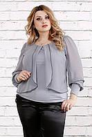 Серая блузка больших размеров 0763