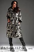 Стильное пальто оверсайз для полных черное с серебром