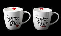"""Кружка Фарфоровая """"Super Dad, Super Mom"""" 520мл, фото 1"""