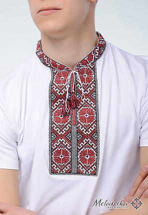 Классическая мужская вышитая футболка белого цвета «Солнышко (вишневая вышивка)», фото 2