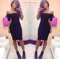 """Платье """"Миди спущенные плечи"""" черное, фото 1"""