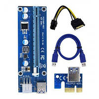 Адаптер-райзер PCI-E x1 to 16x, 60 см USB 3.0 Cable SATA to 6Pin Power ver. 006C ( RX-riser-006c 6 pin ) (BTC)
