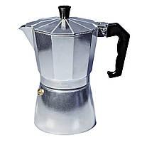 Гейзерная кофеварка 450мл 9 чашек Con Brio CB6109 Silver / кофеварка на плиту большая