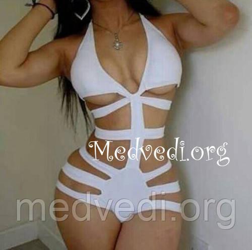 Модный женский купальник, сдельный, монокини, размер XL, белого цвета