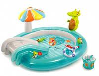 """Детский надувной игровой центр с горкой и навесом """"Крокодил Гоша"""" Intex 57129 203х173х89 см"""