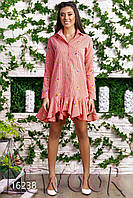 Коттоновое платье-рубашка жатка с вышивкой