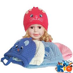 Детская вязаная шапка на подкладке, для детей р-р 36-38, 5 ед. в упаковке