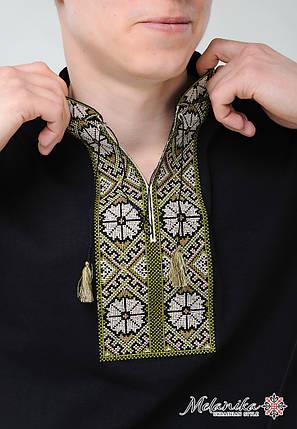 Модная мужская вышитая футболка с коротким рукавом в этническом стиле «Солнышко (зеленая вышивка)», фото 2