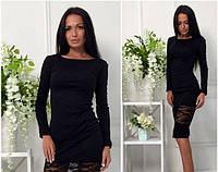 Платье миди с гипюровой вставкой черное, фото 1