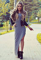 Стильное платье в пол с разрезом серое