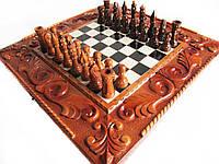 """Шахматы-нарды-шашки ручной работы """"Тигр"""" железные вставки с гравировкой,фигуры резные, фото 1"""
