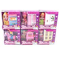 """Маленькая кукла """"Малышка"""" для девочек 66799 6 видов в ассортименте, с мебелью, лошадкой, в коробке 13*14*5 см"""