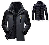 3 в 1 Ветро-Влагозащитная тёплая зимняя куртка+пуховик=парка большие размеры , фото 1