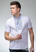 Чоловіча вишиванка на короткий рукав білого кольору «Король Данило (синя вишивка)»