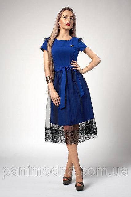 Стильное Платье, юбка из еврофатина с кружевом. Мода 2018 года! Новинка!
