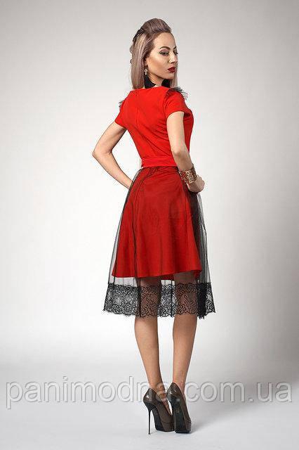 Молодежное Платье, юбка из еврофатина с кружевом. Мода 2018 года! Новинка!
