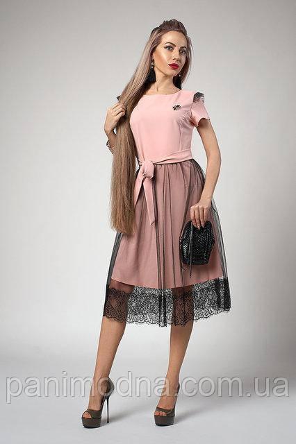 Молодежное Платье с кружевом. цвета Пудра