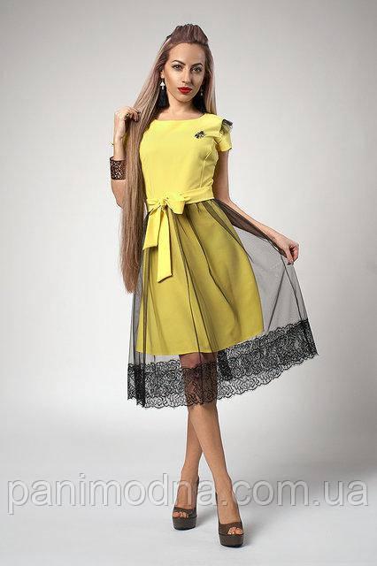 Желтое Платье с кружевом и фатином. Новинка