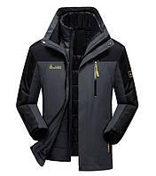 5b870ea74cec 3 в 1 Ветро-Влагозащитная тёплая зимняя куртка+пуховик парка большие размеры  L