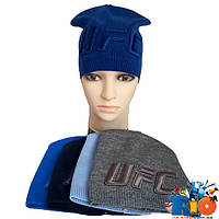 Детская вязаная шапка UFC, тонкая вязка, для мальчика р-р 54-56, 5 ед. в уп.
