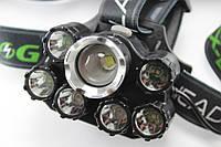 Фонарик налобный фонарь Bailong BL-T78-T6+4Q5+2UV / аккумуляторный на 7 рефлекторов