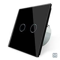 Сенсорная кнопка Импульсный выключатель Проходной диммер 2 канала Livolo черный стекло (VL-C702H-12), фото 1