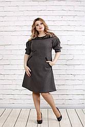 Летнее платье с кружевом больших размеров 0773 серое