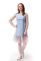 Двухслойное подростковое платье для девочки с фатином серого цвета