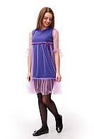 Красивое платье для девочки с фатином сиреневого цвета