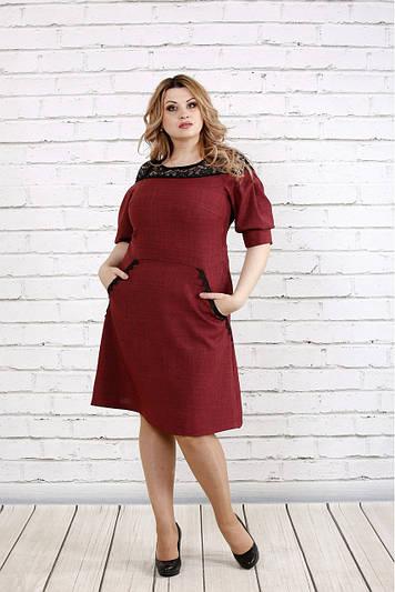 Летнее платье с кружевом больших размеров 0773 бордо