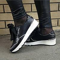 9930744ef90e Женские черные кожаные кроссовки Calvin Klein c ортопедической стелькой