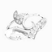 Кольцо  женское серебряное Бамбук KE-1419