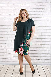 Платье с цветочным рисунком для полных 0772 зеленое