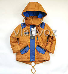 Детская демисезонная куртка ветровка на мальчика горчичная 1-1,5 года
