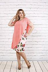 Платье женское стройнящее 0772 розовое