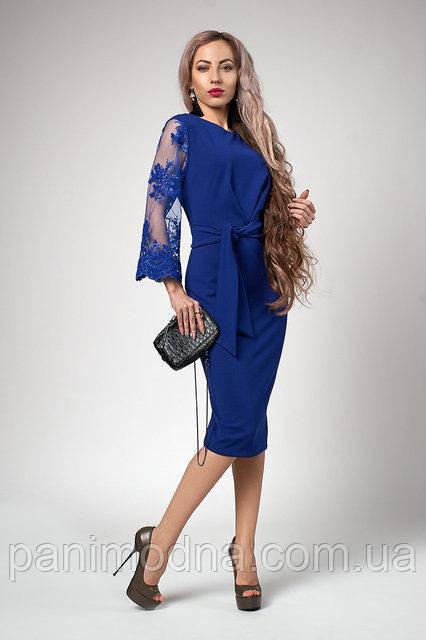 Шикарное Платье с кружевными рукавами яркие цвета