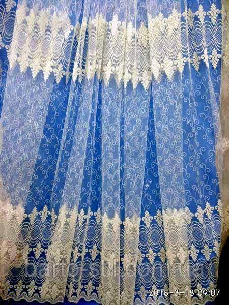 Кремовая тюль - вышивка (фатиновая основа) три цвета. Оптом и на метраж. Высота 2.8 м.