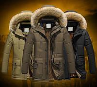 Куртка парка мужская зимняя с капюшоном меховая подкладка меховой воротник , фото 1