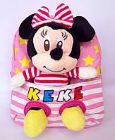 """Рюкзак с игрушкой детский для девочки """" Минни Маус """"  розового цвета."""