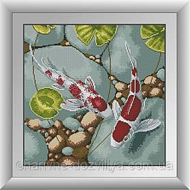 """Набор алмазной вышивки (мозаики) """"Карпы Кои-символ богатства"""""""