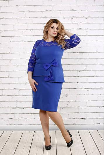 Нарядное платье больших размеров 0767 цвета электрик