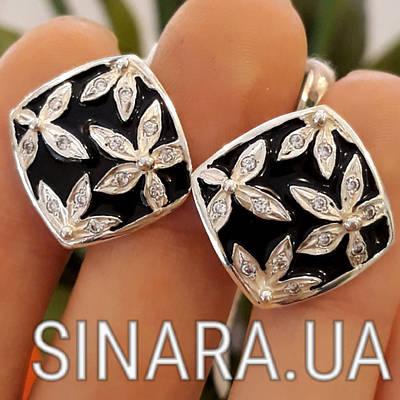 Серебряные серьги с черной эмалью Цветы