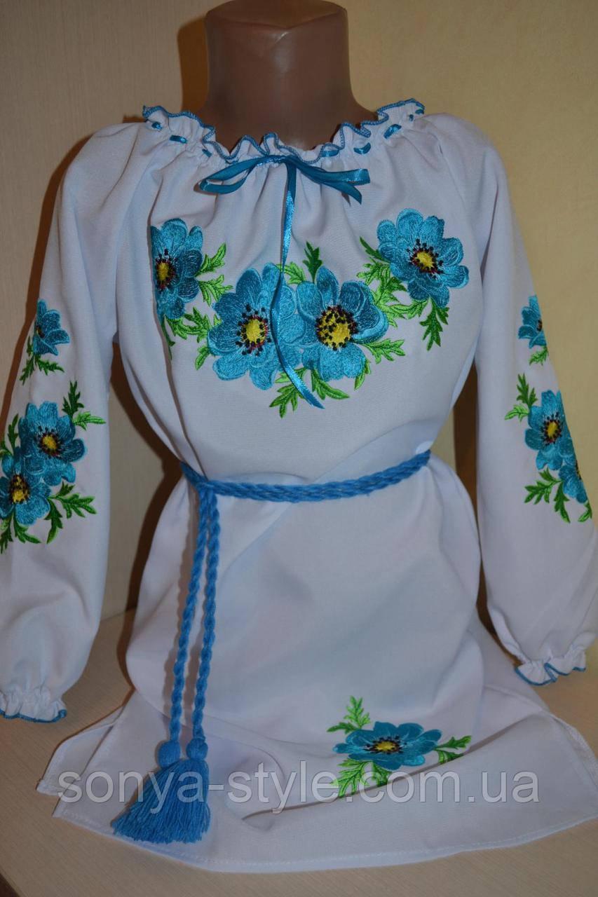 """Платье вышиванка """"голубые цветы"""" на девочку"""