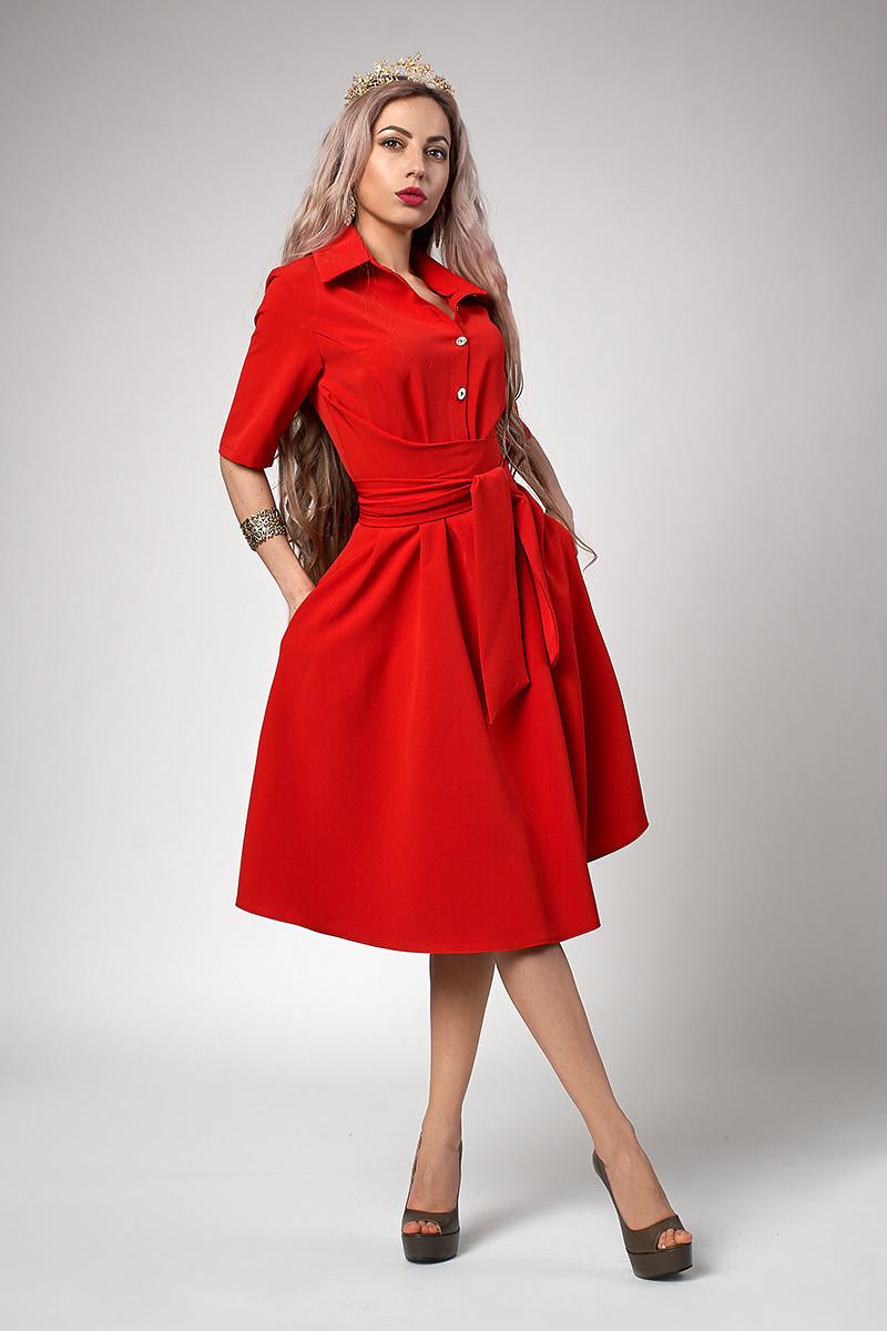 83fc9201001 Очаровательное красное платье с поясом  продажа