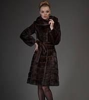 Шуба из меха норки цвета махагон, классический силуэт, 100 см, фото 1