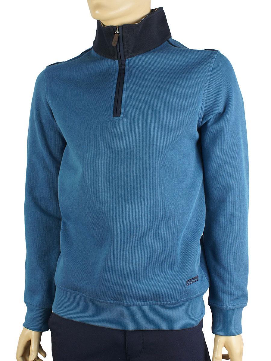 Чоловічий стильний батник La Peron PRN-2001 синій та сірий