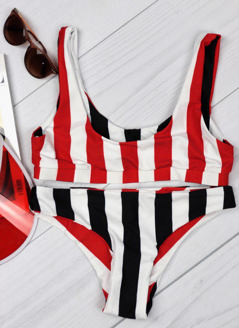 54d8f24b71864 Молодежный, женский, раздельный, полосатый купальник с топом